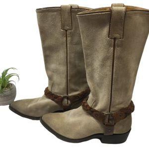 FRYE Billy Braided Harness Boots Suede Beige 7.5